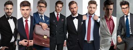 Un'immagine del collage di otto uomini bei differenti fotografia stock libera da diritti