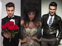 Un'immagine del collage di tre modelli di moda che posano nello studio Fotografia Stock Libera da Diritti