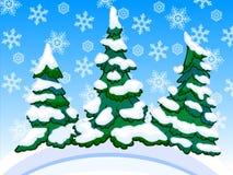 Un'immagine del fumetto di tre conifere nevose con i fiocchi di neve Immagine Stock Libera da Diritti