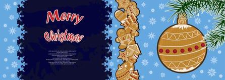 Un'immagine del pan di zenzero di Natale, su un manifesto festivo Immagini Stock Libere da Diritti