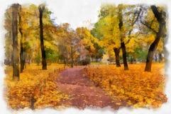 Un'immagine del parco di autunno nello stile dell'acquerello Fotografia Stock Libera da Diritti