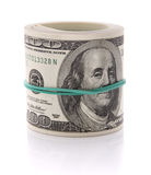 Un'immagine di 100 dollari di mazzo isolato su bianco Fotografia Stock