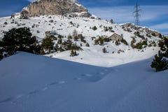 Un'immagine di un inverno che fa un'escursione giro fotografia stock