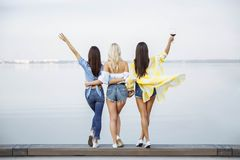 Un'immagine di tre giovani donne felici di estate La vista dalla parte posteriore Immagini Stock Libere da Diritti