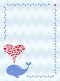 Un'immagine di una balena sveglia del fumetto con la fontana dei cuori nel telaio delle gocce di acqua Saluto, doccia di bambino  Fotografia Stock