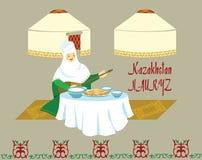 Un'immagine di una donna kazaka con un dombra in sue mani, dietro Immagine Stock Libera da Diritti