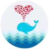 Un'immagine di vettore di una balena sveglia del fumetto con la fontana dei cuori Illustrazione per accogliere, la doccia di bamb Immagini Stock Libere da Diritti