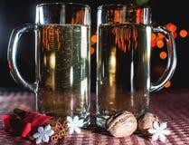 Un'immagine divertente di due vetri di birra di champagne Fotografie Stock Libere da Diritti