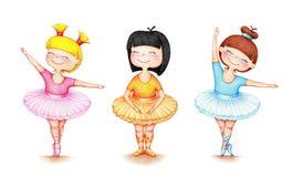 Un'immagine tirata delle mani di tre ballerini di balletto illustrazione vettoriale