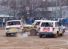 Un impatto di tre automobili Fotografia Stock Libera da Diritti