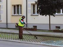Un impiegato del servizio municipale della città rimuove il territorio Perfezionamento dell'area intorno alla casa Falciatura del immagini stock
