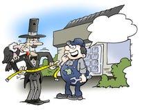 Un impresario che cerca un lavoro in un garage royalty illustrazione gratis