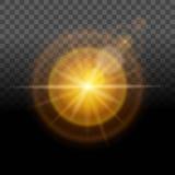 Un'incandescenza luminosa, luce gialla, fondo trasparente di effetto della lente Facile cambiare i precedenti Illustrazione di ve Immagine Stock Libera da Diritti
