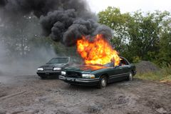 Un incendie d'automobile Image stock