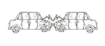 Un incidente di uno schizzo di due automobili royalty illustrazione gratis