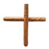 Un incrocio di due sigari isolati Immagine Stock
