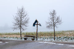 Un incrocio di legno di bordo Fotografia Stock Libera da Diritti