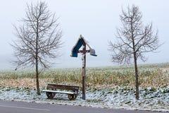 Un incrocio di legno di bordo Fotografie Stock Libere da Diritti