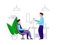 Un individuo joven que se sienta en una silla con un ordenador portátil en sus rodillas Está después un hombre con un teléfono ilustración del vector