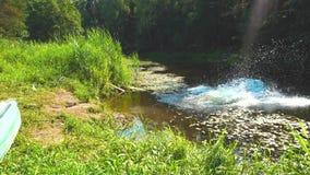 Un individuo salta en el río almacen de metraje de vídeo