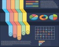 Un infographics con una empanada y un gráfico linear Fotos de archivo libres de regalías