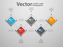 Un infographics di cinque punti con i quadrati variopinti Immagini Stock