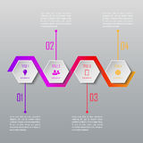 Un infographics di quattro punti Modello di Infographic Fotografia Stock