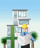 Un ingénieur à l'extérieur de l'édifice haut illustration libre de droits