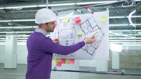 Un ingegnere utilizza gli strumenti di misura, funzionanti con un modello su un bordo archivi video
