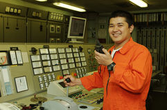 Un ingeniero del envío foto de archivo