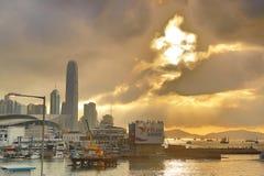 Un ingresso dell'orizzonte della HK di Victoria Harbour Fotografia Stock