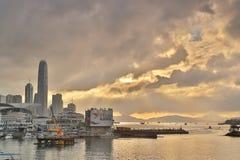 Un ingresso dell'orizzonte della HK di Victoria Harbour Fotografie Stock