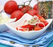 Un'insalata fresca dei pomodori Immagini Stock Libere da Diritti