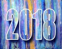 un'insegna da 2018 nuovi anni Carta 2018 del manifesto della decorazione del buon anno Manifesto variopinto astratto d'annata Fotografia Stock