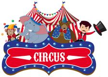 Un'insegna del circo su fondo bianco illustrazione vettoriale