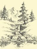 Un'insenatura nelle montagne illustrazione vettoriale