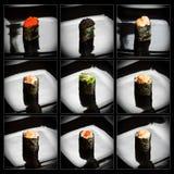 Un insieme 9 del gunkanmaki differente (sushi) Fotografia Stock