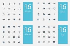 Un insieme alla moda di 4 temi ed icone Fotografie Stock Libere da Diritti
