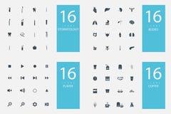 Un insieme alla moda di 4 temi ed icone Fotografie Stock