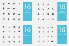 Un insieme alla moda di 4 temi ed icone Immagini Stock Libere da Diritti