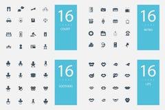 Un insieme alla moda di 4 temi ed icone Immagini Stock