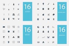 Un insieme alla moda di 4 temi ed icone Fotografia Stock Libera da Diritti