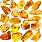 Un insieme ambrato baltico della pietra di 20 Fotografia Stock