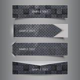 Un insieme in bianco e nero di quattro progettazioni dell'intestazione Fotografie Stock Libere da Diritti