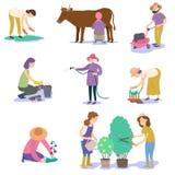 Un insieme degli agricoltori che piantano il raccolto illustrazione vettoriale