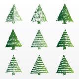 Un insieme degli alberi di Natale di vettore Immagini Stock Libere da Diritti