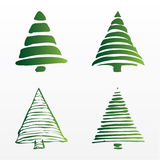 Un insieme degli alberi di Natale di vettore Fotografia Stock