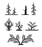 Un insieme degli alberi monocromatici stilizzati semplici Fotografia Stock