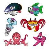 Un insieme degli animali di mare umoristici Fotografia Stock