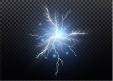 Un insieme degli effetti di magia e della luce intensa del fulmine Illustrazione di vettore Corrente elettrica di scarico Corrent royalty illustrazione gratis